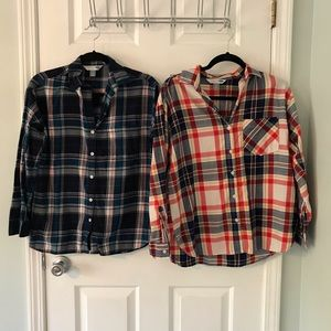 Two Old Navy boyfriend shirts